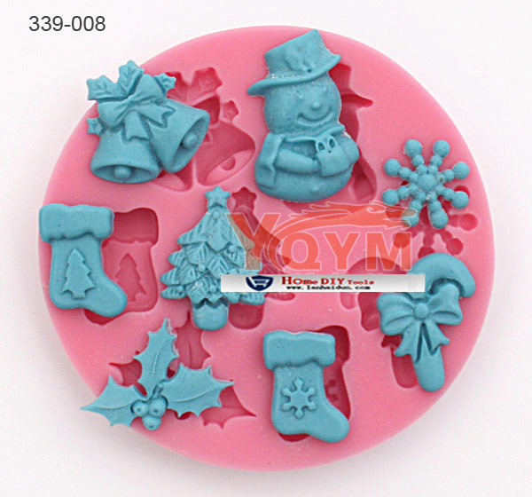 snow men Xmas bell shose baking wear Fondant cake mold silicone sugar lace mould sugar mat decoration for wedding cake