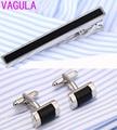 Luxo vagula onyx abotoaduras gravata clipe set top qualidade alfinete de gravata abotoaduras conjunto atacado tie bar link set 53