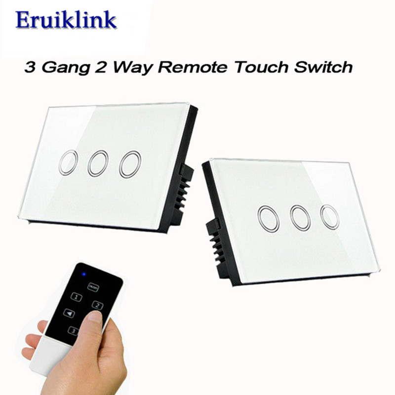 US Standard 3 gang 2 way Touch Switch, Wireless Remote Control Light Switches for RF433 Smart Home Wall Sswitch us standard 1gang 1way remote control light touch switch with tempered glass panel 110 240v for smart home hospital switches