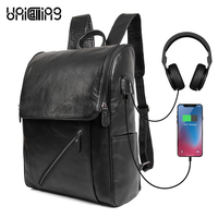 Backpack leather men UNICALLING fashion laptop backpack 14 inch 100% Guaranteed genuine leather school backpack male