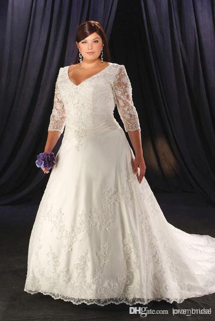 New Hot Sales Custom Made V-Neck 3/4 Sleeve Lace Bridal Gowns Court Train A-Line Vintage Plus Size Wedding Dresses 2014 W441