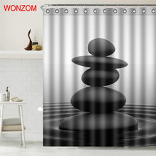 WONZOM New Arrival Bamboo Shower Curtains with 12 Hooks For Bathroom Decor Modern Landscape Bath Waterproof Curtain Home Gift цена в Москве и Питере
