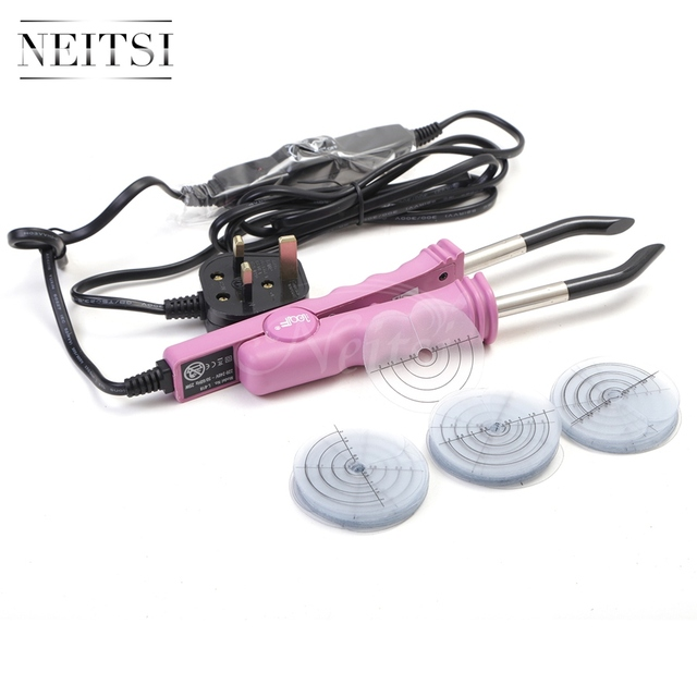 Neitsi 50pcs Heat Protector+Professional Consistent Temperature Adjustment Hair Extension Fusion Iron UK Standard Plug Connector