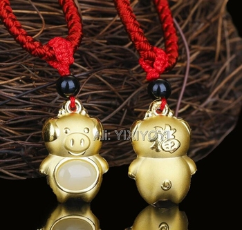 f0035470b74f Jade hetiano blanco Natural + oro sólido de 18 quilates bendición China  colgante de amuleto del zodiaco + joyería del collar gratis + certificado