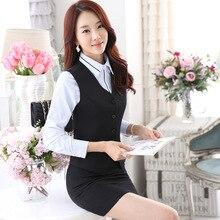 2016 Top Fashion Skirt Suit Vest Spring Suit Ol Beauty Salon Hotel Uniform Trousers Korean Airline Stewardess Flight Attendant