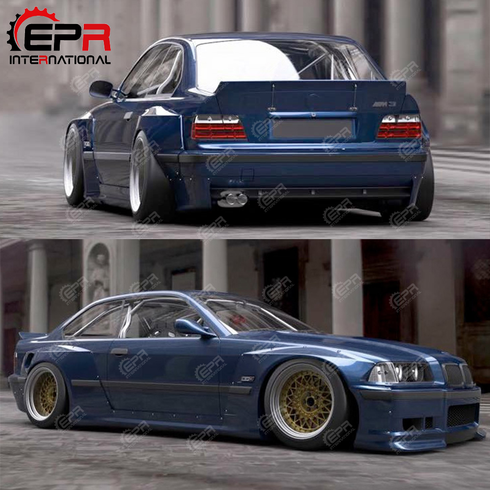 hight resolution of for bmw e36 rb body kit tuning carbon fiber rocket bunny rear spoiler full wide body kit part for e36 carbon rear wing in body kits from automobiles