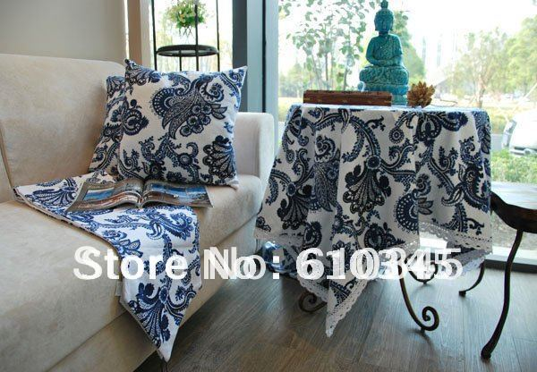 Free Shipping Hot Selling Linen Cotton Chinese Art Printing Table Cloth  With Decoration 140x140cmTable Cover Tablecloth