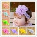 Аксессуары для мода цветочные девочка кружева ободки 16 цвет младенческая повязки ребенок руководитель обертывания шифон девушки заколки