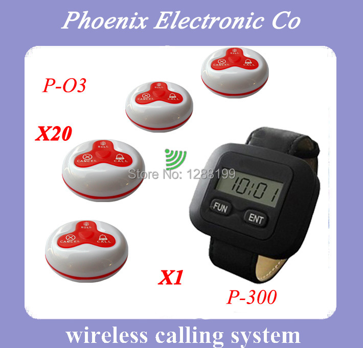 Wireless Wrist Watch(X1) And Call Button(X20) For Restaurant Waiter Call Bell System, Competitive Price,DHL Free Shipping restaurant pager watch wireless call buzzer system work with 3 pcs wrist watch and 25pcs waitress bell button p h4
