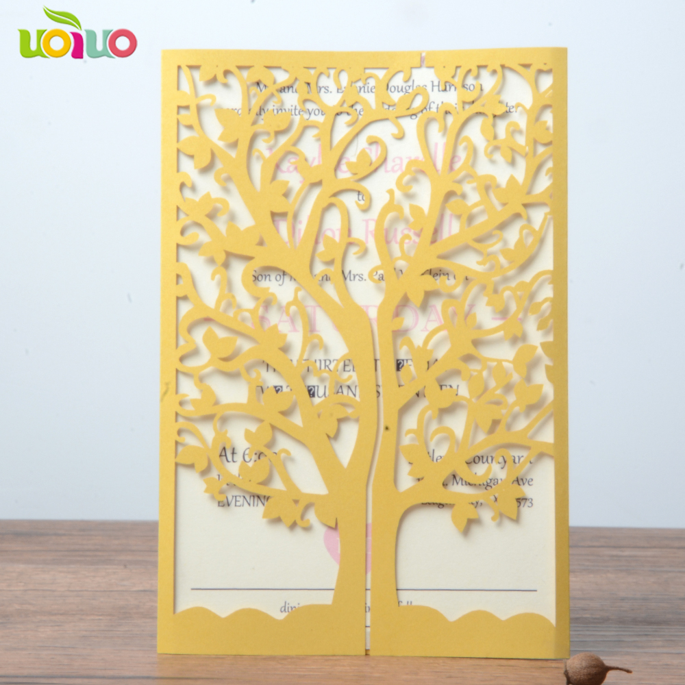 10 sets laser cut tree design invitation card,wedding invitation ...
