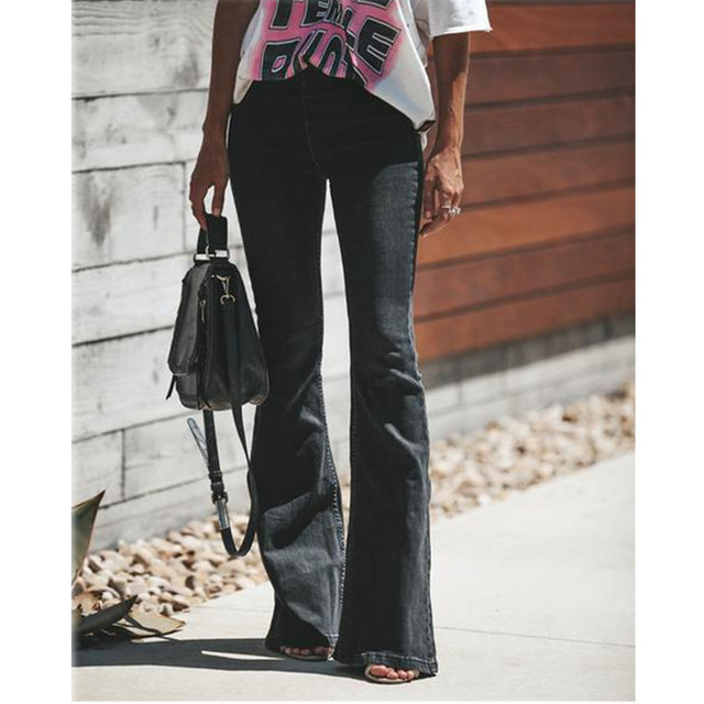 db6a89587e3a Flare Jeans Women wide leg jeans Denim Trousers Vintage Women Clothes 2019  Fall High Waist Pants Stretchy ladies jeans mom jeans