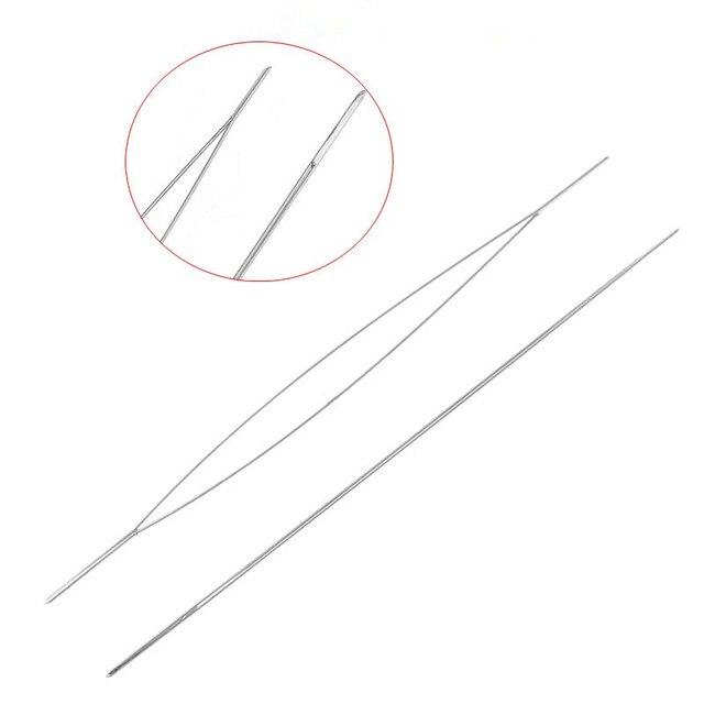 DoreenBeads Beading Needles Threading Chuỗi/Dây Công Cụ Đồ Trang Sức Ngu Si Đần Độn Bạc Màu 5.7 cm, 5 cái