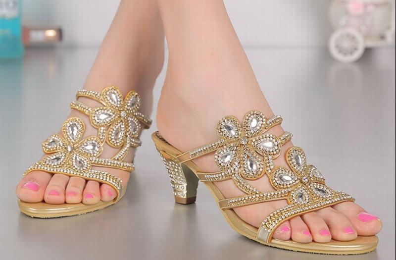 Новая мода рим гладиатор толстые на высоком каблуке тапочки цветы горный хрусталь кристалл каблуки сексуальные открытым носком тапочки партийные свадебные туфли - 3
