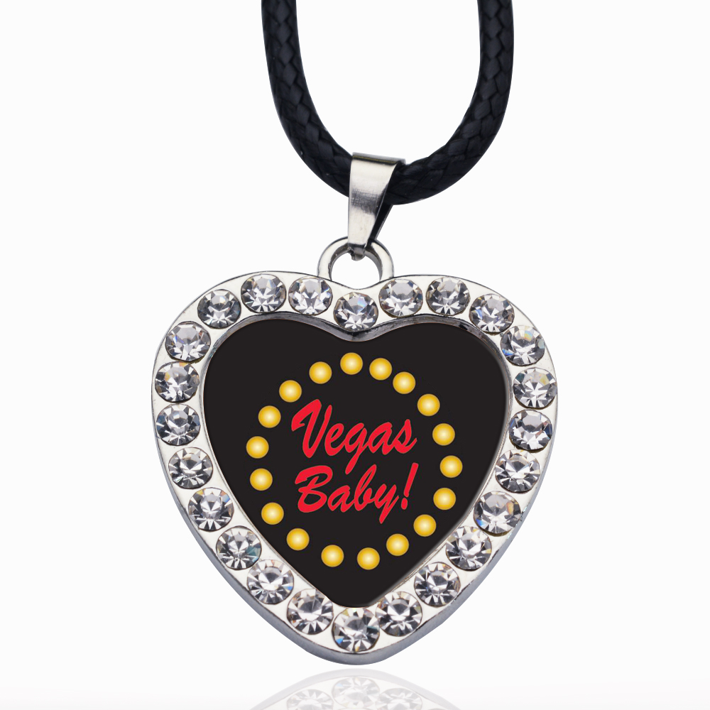 Vegas Baby Circle Charm Crystal Necklace Heart Pendant Crystals From  For Girls Gifts Silver Color Chain Kids Jewelry(China)