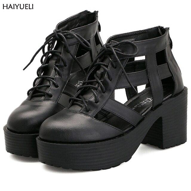 Mulheres Sapatos De Salto Alto Preto bombas sapatos para as mulheres Da Moda Rendas Até Saltos Plataformas Sandálias das sapatas das mulheres Do Punk do vintage Das Mulheres
