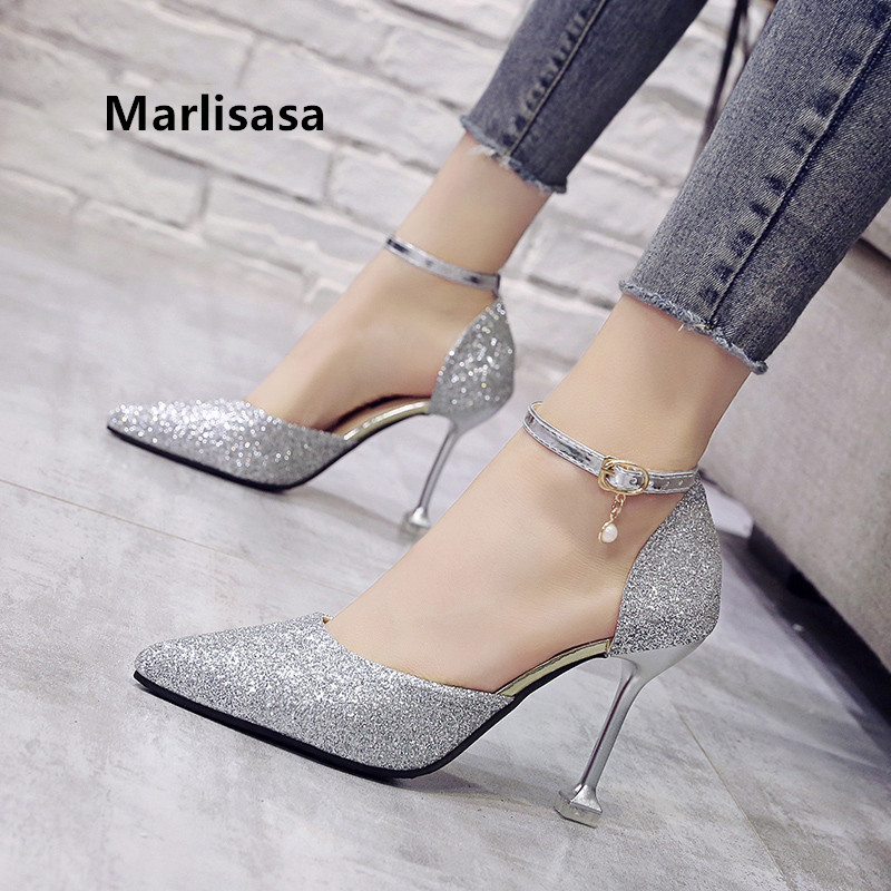 Marlisasa Women Cute Pointed Toe Golden High Heel Shoes Lady Casual Comfortable Party Shoes Sexy Wedding Silver Pumps G5452