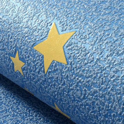 Купить с кэшбэком New Blue Cartoon Star Fluorescent Wallpaper Bedroom Living Room Non-woven TV Sofa Background Children Wallpaper Roll
