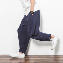 M~5XL New Men's Clothing Pust size Chinese casual pants loose comfort Haren pants linen pants