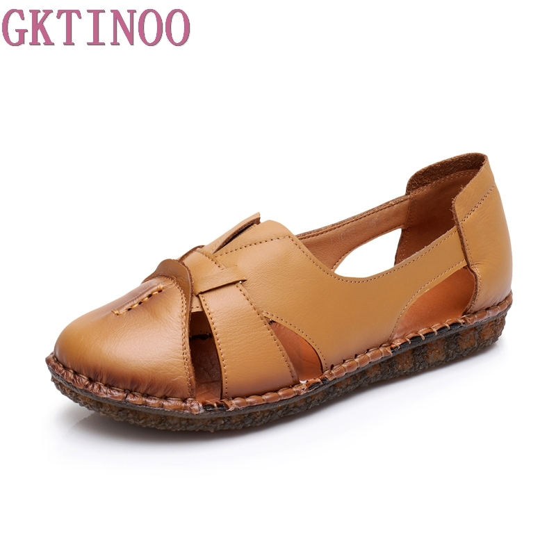 GKTINOO Summer Shoes Woman Genuine Leather Soft Outsole Close Toe Sandals Casual Flat Women Shoes Handmade Fashion Women Sandals gktinoo genuine leather sandals women flat heel sandals fashion summer shoes woman sandals summer plus size 35 43 free shipping
