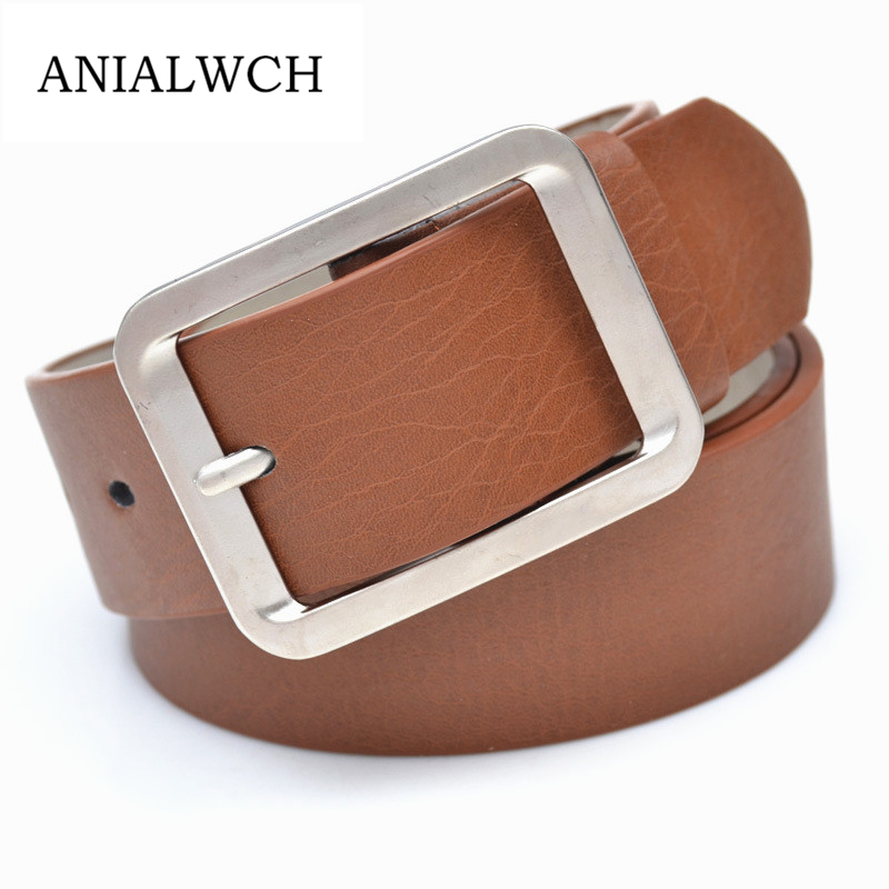 2019 Hot Fashion Classic Leisure Metal Buckle Wide Unisex Leather   Belt   Women Men Cummerbund Waistband Strap Female Ceinture