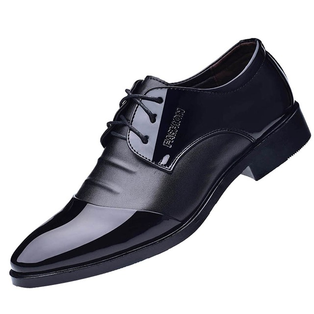 Pointed Toe Men Dress Shoes - Leather Oxford Formal Shoes For Men