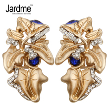 Jardme Vintage Luxury Abstract Leaves Stud Earrings Noble Ornaments Wedding Party Gift Jewelry Dropshipping Apparel Accessories