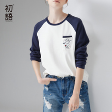 Toyouth Women T Shirts Character Embroidery Raglan Sleeve O-Neck Cotton Tees Fashion Loose All Match Tops