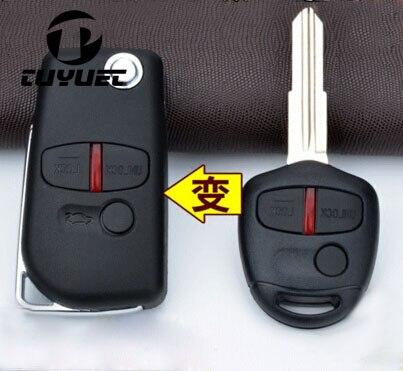 3 Tasten Geändert Flip Folding Fernschlüsselshell Fob Fall für Mitsubishi Lancer Outlander Uncut Rechts Klinge