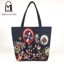 Vintage Style frauen Leinwand Einkaufstasche Weibliche Casual Beach Bag Beliebte Handtasche Große Kapazität Einkaufstasche Täglichen Gebrauch Eule gedruckt