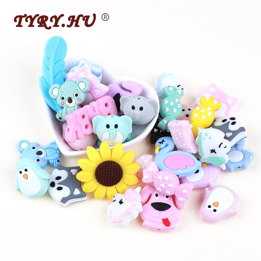 TYRY.HU 3pc/lot Cartoon Silicone Beads Food Grade Mini Koala Raccoon Silicone Teething Beads BPA Free Mini Silicone Teether Toy