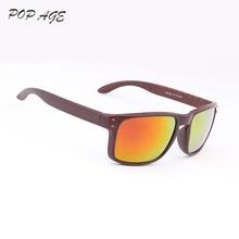 cf4a421753 POP AGE Designer Sunglasses with Box and Logo 2016 Cat3 UV400 Classic Fake  Wood Sunglasses Men
