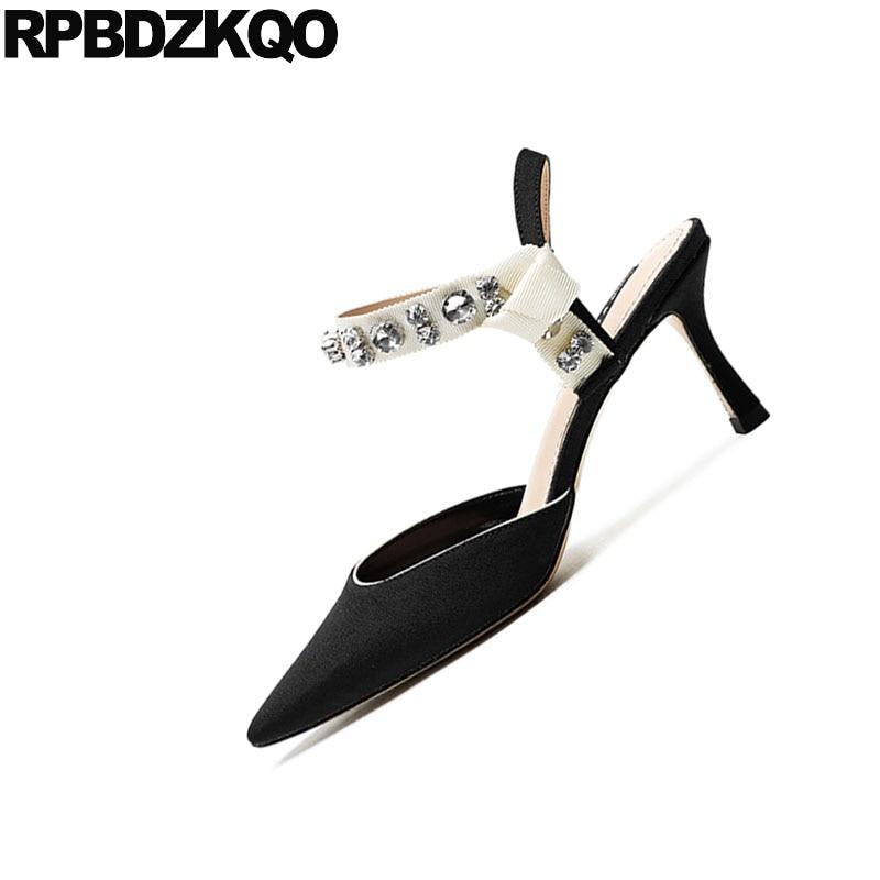 Slingback Pointu Diamant Cristal Mince Haute Pompes Dames Noir En 3 Piste Talons Pouce Sangle Strass Bout Chaussures Daim Stiletto wqC6gvCxa