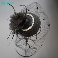 b4362f4231 BRITNRY Black Wedding Hats For Women Cheap Hair Accessories Vintage Bridal  Hats With Pearls In Stock. BRITNRY negro sombreros de boda ...
