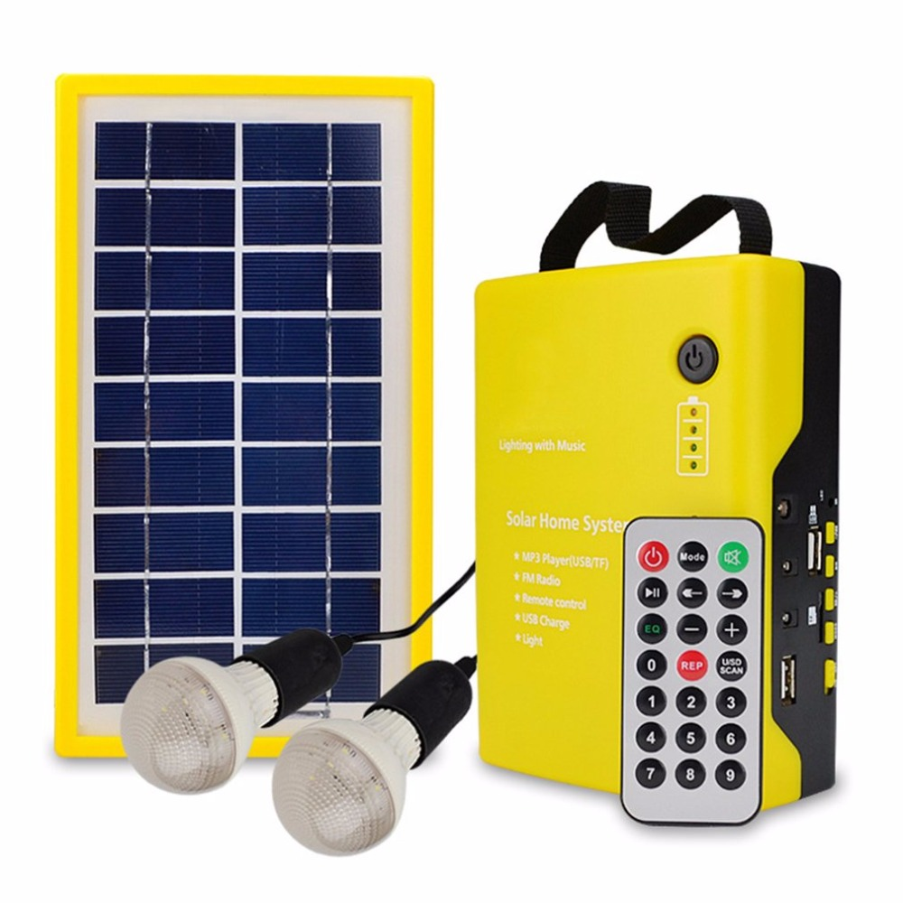 Solar Panel Mobile Power Rechargeable With Audio Function Speaker Portable Remote Control Support TF Card With LED Light Bulb