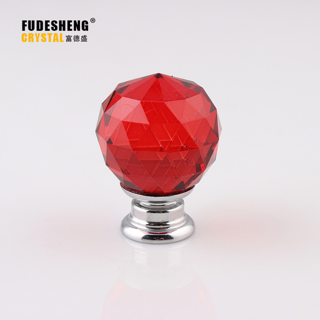 30mm Ball K9 Red Crystal Glass Door Knobs Drawer Cabinet Furniture ...