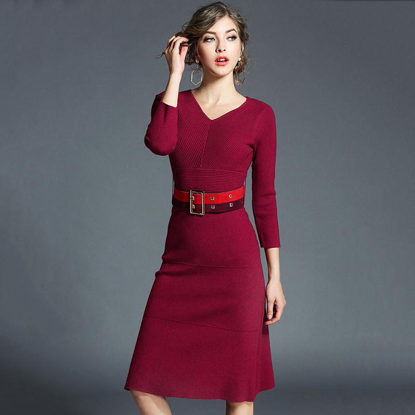 Winter Knitted Sweater Dress Women V-neck Elegant Bodycon Dress Sexy Party Dresses 2018 Ladies Office Slim Vestidos Robe Femme
