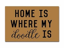 Home Is Where My Doodle Doormat Non-Slip Machine Washable Outdoor Indoor Entrance Bathroom Kitchen Decor Rug Mat