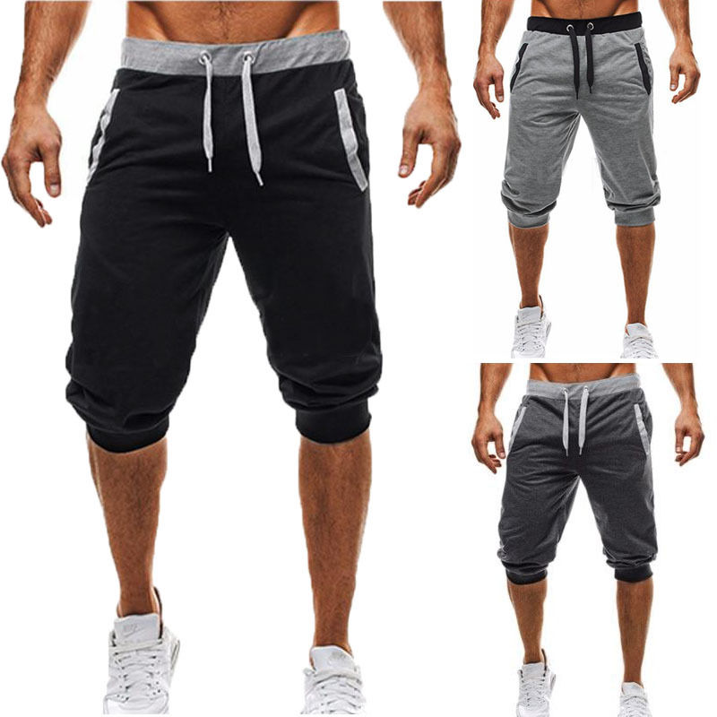 Hot Fashion Casual Mens Solid Trousers Short Sweatpants Harem Pants Slacks Jogger Sportwear
