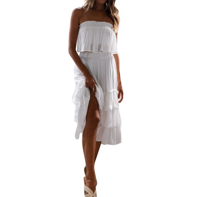 bb61b997c7f 2019 New Fashion Casual Dress Women Summer White Dress 2 Pieces Off Shouder Slash  neck Long Bohemia Maxi Beach Sets Dress