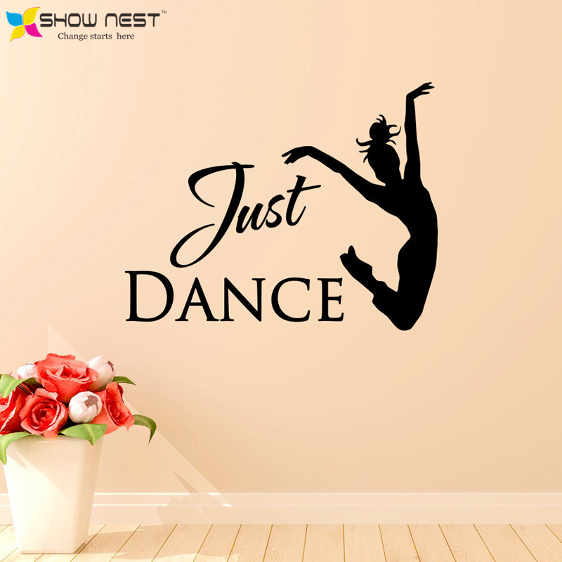 Just Dance Wall Stickers Home Decor - Ballet Dancer Wall Decal Dance Studio Wall Art Decoration - Girls Bedroom , Dorm Wallpaper