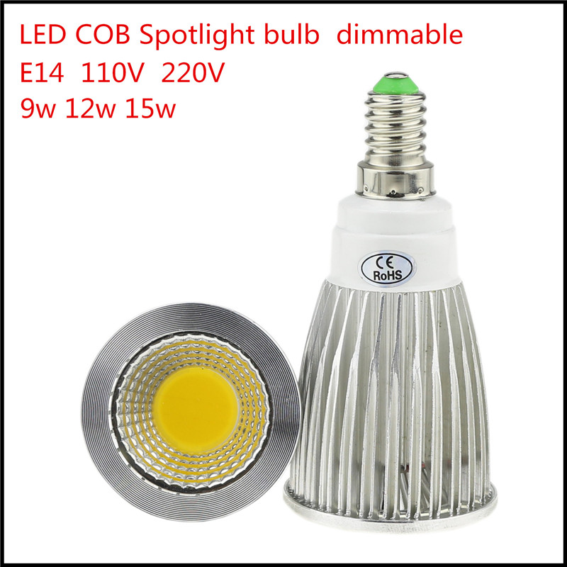 1x high lumen e14 led cob spotlight 9w 12w 15w dimmable ac110v 220v led spot light bulb lighting. Black Bedroom Furniture Sets. Home Design Ideas