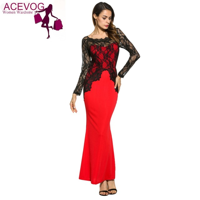 abcb1ced394 ACEVOG Evening Party Lace Patchwork Dress Women s Boat Neck Bodycon Evening  Gown Mermaid Maxi Dress For All Season Red Blue