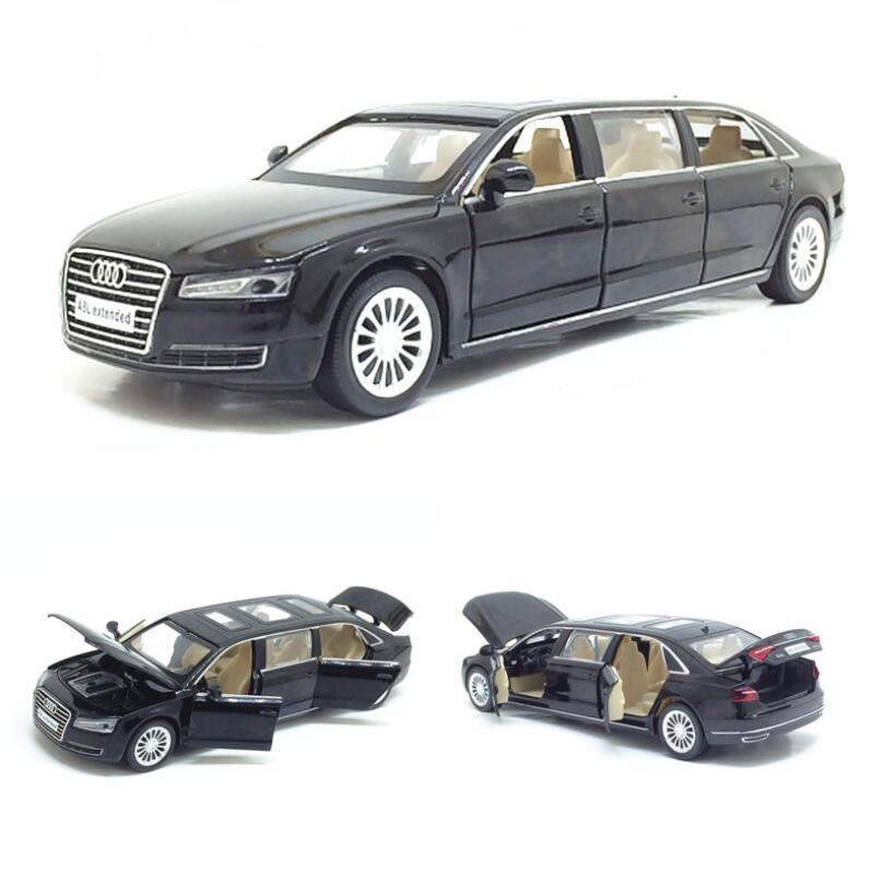 1:32 Audi A8L Extended Alloy Car Model Metal Toy Vehicle Pull Back Flashing Music Diecast Car For Kids Toy Collection Gift image