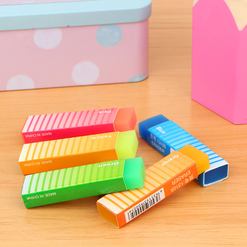 1pc Cute Creative Jelly Color Elastic Band Eraser Kawaii Ribbon Pencil Eraser Children's School Stationery Material Color Random