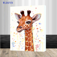 NEW Cartoon Giraffe DIY Painting By Numbers Kits Paint On Canvas Acrylic Coloring Painitng For Home Wall Decor Frdmed