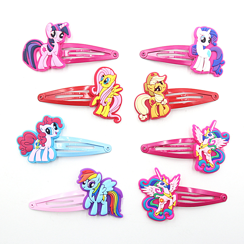 2 Pcs Lovely Creative Horse Girls Hair Accessories My Little Ponys Hair Clips Cartoon Children Hair Ornaments Kids Hairpins