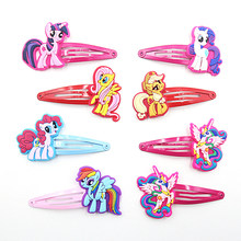 2 PCS Lovely Creative Horse Girls Hair Accessories My little Ponys Hair Clips Cartoon Children Hair Ornaments Kids Hairpins(China)