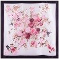 90x90 cm 100% Bufanda de Seda Bufanda de Las Mujeres de moda de estilo Europeo flor pintura Pañuelo Pañuelo Cuadrado Grande Señora de la Oficina regalo