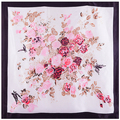 90x90cm European style 100% Silk Scarf Women Scarf  fashion flower painting NeckerChief Bandana Large Square Office Lady Gift