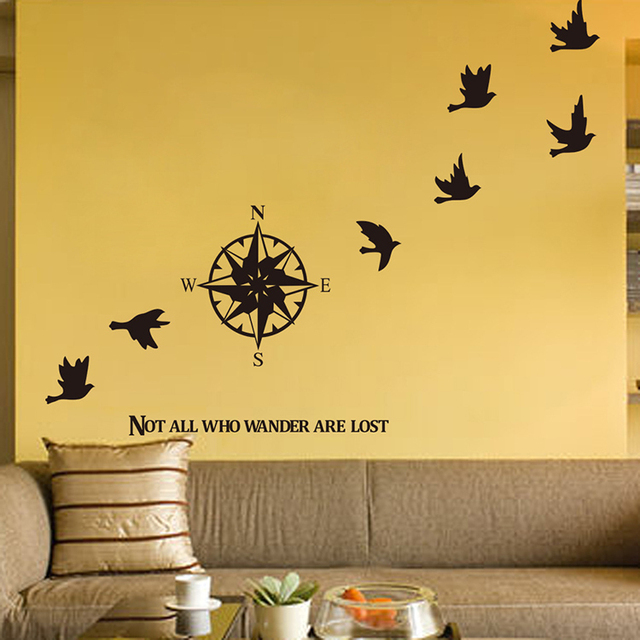 new compass of migratory birds removable vinyl wall stickers home ...